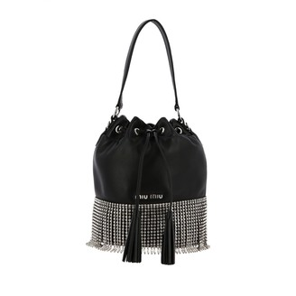 Miu Miu Bucket Bag In Leather With Rhinestone Fringes