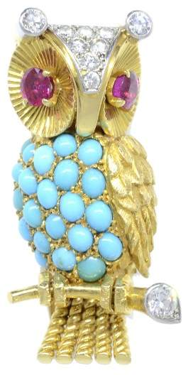 Cartier 18K Yellow Gold Turquoise, Diamond & Ruby Owl Brooch