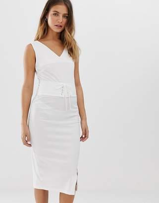 Glamorous sleeveless dress with waist details-White