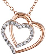 Dual Heart Diamond Accent Pendant Necklace - 0.10 ctw