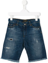 Dolce & Gabbana distressed denim shorts - kids - Cotton/Linen/Flax - 10 yrs