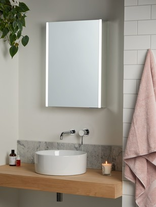 John Lewis & Partners Vertical Single Mirrored and Illuminated Bathroom Cabinet