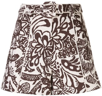 Alexis Lew abstract belted shorts