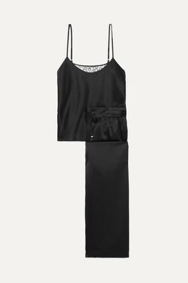CAMI NYC Nalia Lace-paneled Silk-blend Charmeuse Pajama Set - Black