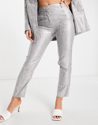 ASOS DESIGN moire suit pants in metallic silver