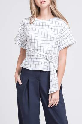 J.o.a. Belted Windowpane Print Top