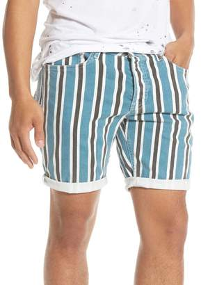 Topman Stripe Skinny Denim Shorts