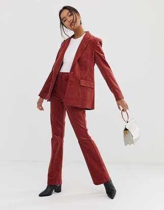 Asos Design DESIGN velvet slim flare suit trousers-Pink