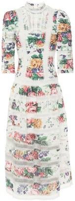 Zimmermann Allia Pintucked Lace-paneled Floral-print Linen Midi Dress