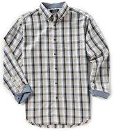 Roundtree & Yorke Casuals Big & Tall Long-Sleeve Linen-Look Plaid Sportshirt