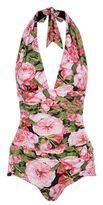 Dolce & Gabbana Rose Print Halterneck Swimsuit