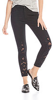Miss Me Embroidered Lace Inset Ankle Skinny Jeans
