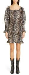 Ganni Leopard Print Long Sleeve Cotton & Silk Minidress