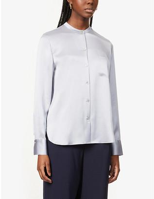 Vince Stand-collar silk-satin shirt