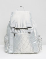 Asos LIFESTYLE Oversized Satin Backpack With Zipped Pockets