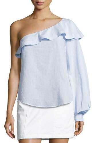 A.L.C. Brielle One-Shoulder Poplin Top, Light Blue