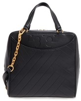 Tory Burch Chevron Quilted Leather Satchel - Black