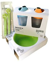 Ikea Smaska Two Pack Training Cup Set, Three Piece Bowl Set and Six Piece Spoon Bundle by