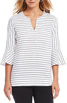 Westbound Y-Neck Striped Bell Sleeve Tunic