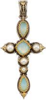 Konstantino Amphitrite Long Agate & Pearl Cross Pendant Enhancer