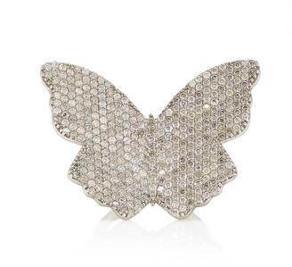 Sheryl Lowe Women's Large Butterfly Sterling Silver Diamond Ring - Metallic - Moda Operandi