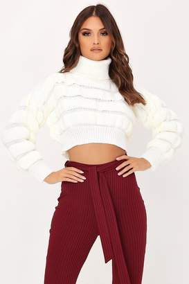 I SAW IT FIRST Cream Bubble Knitted Jumper