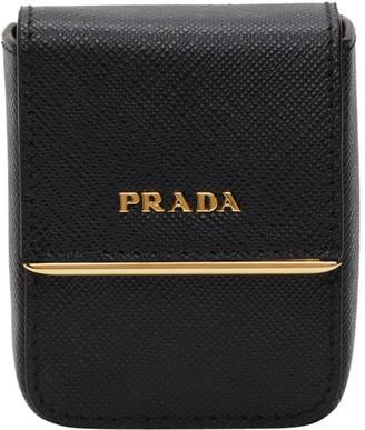 Prada Black Saffiano Logo Pouch Bracelet