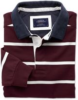 Charles Tyrwhitt Wine and White Stripe Long Sleeve Rugby Cotton Shirt Size XS