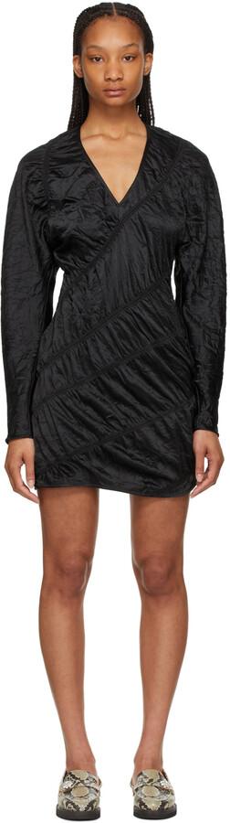 Thumbnail for your product : Ganni Black Crinkled Satin Mini Dress