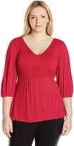 NY Collection Women's Plus Size Solid V-Neck Shirred Waist Three-Quarter-Sleeve Pullover Top