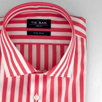 Tie Bar Cabana Stripe Pink Non-Iron Dress Shirt