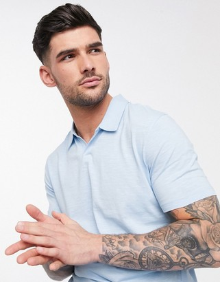 Selected organic cotton revere collar marl t-shirt in blue