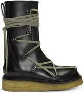 Rick Owens Black Lace-Up Creeper Boots