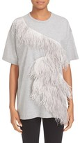 N°21 Women's N?21 Ostrich Feather Trim Cotton Tee