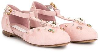 Dolce & Gabbana Floral Embellished Ballerina Shoes