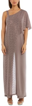 R & M Richards One-Shoulder Metallic Jumpsuit