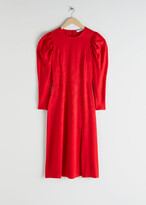 Thumbnail for your product : And other stories Jacquard Puff Sleeve Midi Slit Dress
