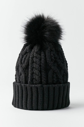 Urban Outfitters Cable Knit Fur Pom Beanie