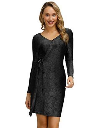 Women Classic Tie-Front Deep V-Neck Wrap Dress Long Sleeve Hips-Wrapped Black S