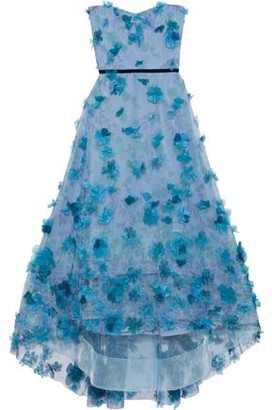 Marchesa Strapless Appliqued Floral-print Tulle Gown