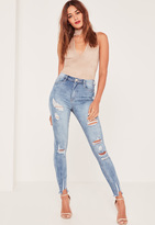 Missguided Caroline Receveur Blue High Waisted Authentic Ripped Skinny Jeans