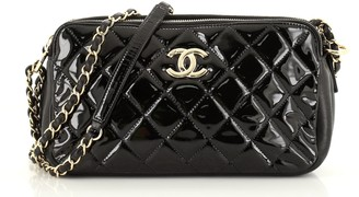 Chanel Double Zip Clutch with Chain Quilted Patent Medium