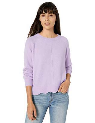Love lili Pull Over Crew Neck Sweater with Scalloped Hem