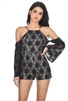 AX Paris Black Cut Out Shoulder Lace Contrast Playsuit