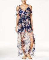 Trixxi Juniors' Printed Cold-Shoulder Maxi Dress