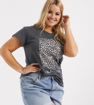 New Look Curve wild and free longline slogan tee in gray