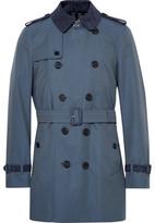 Burberry Kensington Mid-length Suede-trimmed Cotton-gabardine Trench Coat - Storm blue