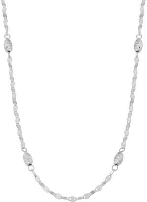 Fremada Italian Sterling Silver Diamond-cut Oval Bead Station Necklace