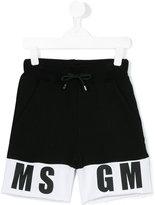 MSGM logo hem track shorts - kids - Cotton - 4 yrs