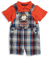 Nannette Baby Boys Baby Boys Plaid Overalls and Polo Set